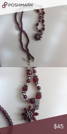 Classy, Garnet Flowered  Necklace Lovely beads. Flower has genuine garnets. Jewelry Necklaces
