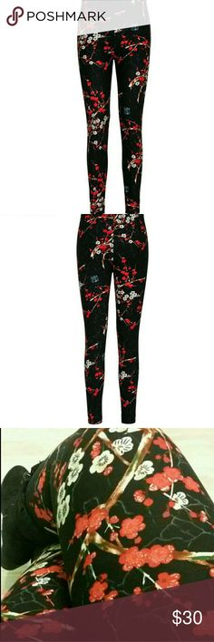 Adult leggings, OS, Red cherry blossoms These adult leggings are super soft, stretchy and very comfortable. They are one size and will fit 0 -12.  We used to get only  Lularoe til we found these. Fit & comfort is just like the Llr & Zohra ones and we love them all! Brand new, never been worn. boutique  Pants Leggings