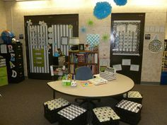 Beautiful fourth grade classroom - lots of black and white, pops of color. Check out the double borders - chevron and polka dots - love!