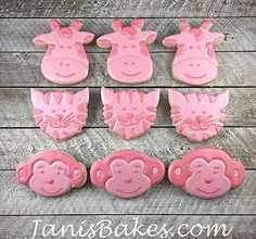 janisbakes, baby shower cookies, giraffe tiger and monkey decorated cookies