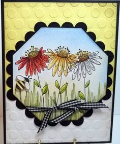 Three teapot daisies by jaydekay - Cards and Paper Crafts at Splitcoaststampers Penny Black Cards, Penny Black Stamps, Flower Stamp, Flower Cards, Copic Sketch Markers, Bee Cards, Artist Trading Cards, Scrapbook Cards, Scrapbooking