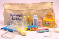 """For the """"older"""" big brother (ages 4 - 9) there is a Big Brother's on Duty Toolbelt that has items to assist with bathing baby. Way to enlighten your son in child care the right way! $34.95"""