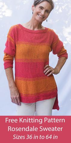 """Free Knitting Pattern Rosendale Sweater Long sleeved striped pullover sweater tunic with a high-low hem and vertical stripes separating the horizontal stripes. Sizes Bust: 36 (40, 44, 48, 52, 56, 60, 64)"""". DK weight yarn. Designed by Amy Christoffers for Berroco. Tunic Sweater, Long Sleeve Sweater, Pullover Sweaters, Cardigans, Sweater Knitting Patterns, Knitting Ideas, Free Knitting, Tunic Pattern, Free Pattern"""