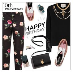 """""""Celebrate Our 10th Polyversary!"""" by mari-meri ❤ liked on Polyvore featuring N°21, Gucci, Robert Clergerie, Nixon, Harper & Blake, polyversary and contestentry"""
