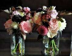 pink, red and brown bouquets