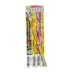 Zombie Pencils. You'll need those Zombie Pencil Sharpeners to sharpen these. $.35 each, $4.25 per pkg of 24. http://www.partypalooza.com/Merchant2/merchant.mvc?Screen=PROD&Product_Code=PencilZombies