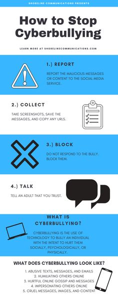 How to Stop Cyberbullying - Shoreline Communications What Is Cyberbullying, Cyberbullying Prevention, Bullying Activities, Bullying Lessons, Cyber Bullying, Anti Bullying, Mental Health Help, Self Confidence Tips, Year 8