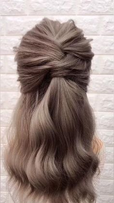 Easy Hairstyles For Long Hair, Cute Hairstyles, Braided Hairstyles, Wedding Hairstyles, Long Hair Half Updo, Medium Length Hair Braids, Styling Shoulder Length Hair, Style Long Hair, Long Bob Updo