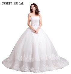 Find More Wedding Dresses Information about Strapless Ball Gown Lace Appliques Wedding Bridal Dresses With Crystal Sash White Strapless Bride Dress chapel Train,High Quality bridal dress,China wedding bridal dress Suppliers, Cheap gown lace from Tanya Bridal Store on Aliexpress.com