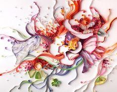 ロシア出身のアーティストYulia Brodskayaさんの作品。紙を折り、糊で張り付けることで多彩な表現をしている。