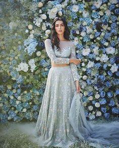 Designer Dresses in beautiful colors Indian Lehenga, Indian Gowns, Indian Attire, Indian Ethnic Wear, Blue Lehenga, Lehenga Style, Indian Bridal Outfits, Indian Designer Outfits, Pakistani Outfits