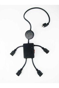 Kikkerland Electro Man Multi Outlet Black