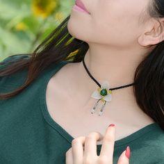 Original design choker necklace cute trendy charm xiuyan jade flower green agate pendant short chain Handmade jewelry