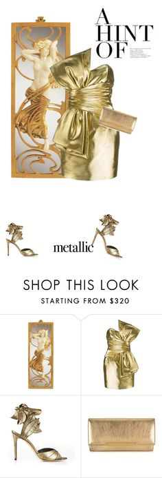 """""""Afrodita"""" by theitalianglam ❤ liked on Polyvore featuring Yves Saint Laurent, Vivienne Westwood, Jimmy Choo and metallicdress"""