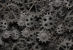 veel oude roestige metalen tandwielen of machine-onderdelen Stockfoto - 16248934