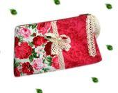 ROSY trousse de maquillage roses couleur rouge et rose foncé et coton framboise : Trousses par catsoo