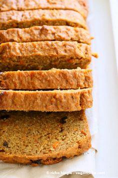 Vegan Carrot Cake Recipe. Vegan Carrot Cake Quick bread loaf with Cashew Cream Frosting. Moist, spiced, full of carrots. Low oil. Soyfree Palmoil-free   VeganRicha.com
