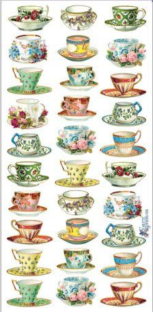 Victorian Tea Cup Stickers - Victorian Stickers - Roses And Teacups