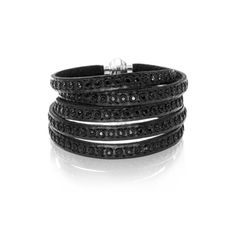 Women's Leather Bracelet by Sif Jakobs Jewellery 90cm Black Leather... ($129) ❤ liked on Polyvore featuring jewelry, bracelets, accessories, braclete, black, sparkle jewelry, magnetic jewelry, magnet jewelry, polish jewelry and leather jewelry