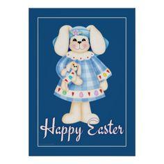 Easter Bunny Girl teal blue easter wall art