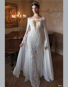 """If the words """"gorgeous long sleeve wedding dress"""" set your heart racing, you're in for a treat. Find your perfect long-sleeve wedding dress! 2015 Wedding Dresses, Wedding Attire, Bridal Dresses, Wedding Gowns, Prom Dresses, Lace Wedding, Mermaid Wedding, Wedding Blog, Lace Mermaid"""