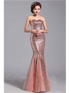 Glamorous Trumpet Strapless Sequins Evening Dress
