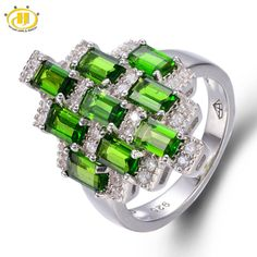 edc04366a62a7f Hutang 3.131ct Genuine Chrome Diopside Solid 925 Sterling Silver Ring  Russian Emerald Gemstone Fine Jewelry