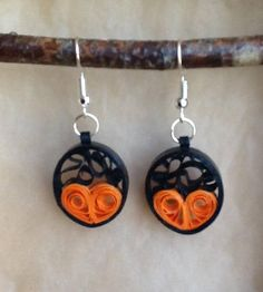 Earrings heart quilling paper rolled