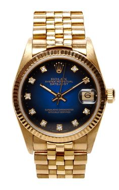 Vintage 18K Gold Rolex Oyster Perpetual Datejust with Blue Vignette Diamond Dial by CMT Fine Watch and Jewelry Advisors - Moda Operandi
