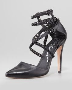 Drixa Studded Ankle-Wrap Pump by Alice + Olivia at Neiman Marcus.