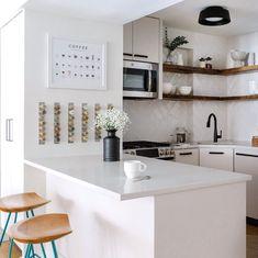Kitchen Design Small, Gray And White Kitchen, Manhattan Apartment, Narrow Coffee Table, Small Kitchen, White Subway Tiles, Comfy Sectional, Kitchen Design, Small Living