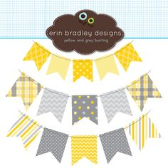 Yellow and Gray Bunting Banner Flags Clipart Clip Art for Personal & Commercial Use. $5.00, via Etsy.