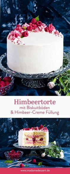 Recipe for raspberry cake with sponge cake bases Madame dessert - Kuchen Backen - Rezepte - Beaux Desserts, Cake Recipes, Dessert Recipes, Best Pie, Flaky Pastry, Raspberry Cake, Mince Pies, Sponge Cake, Food Cakes