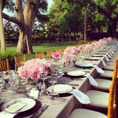 Rehearsal dinner all set! Events by Jackson Durham #jacksondurham #wedding #weddingflowers #floral #flowers #floraldesign #events #eventdesign #pink #rehearsaldinner