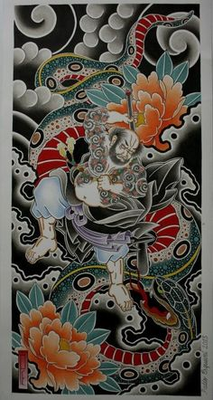 Japanese Tattoo Art, Japanese Tattoo Designs, Japanese Painting, Asian Tattoos, Old Tattoos, Chest And Back Tattoo, Foo Dog Tattoo, Buddha Tattoo Design, Tattoo Brazo