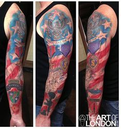 A soldier with a Purple Heart on his sleeve. #InkedMagazine #Military #tattoo #tattoos #Purpleheart #Inked