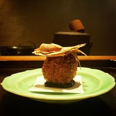 Olive & Taro Croquette (Korokke) with Truffle by Talented Executive Chef Hiroki Odo at the greatest Vegetarian Kaiseki restaurant KAJITSU Shojin Cuisine in NYC. #olives #taro #croquette #truffle #kokage #Kajitsu #shojincuisine #kaiseki #vegetarian #vegan #veaganfood #beers #sake  #michelinrestaurant #michelinchef #visual_magic #newyork_instagram #photoartist #chefs #visual_heaven #dinner #japanesefood #tasty #delicious #artistic #shadow #light #shadowandlight by ken_hikofu