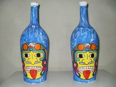 Botella con figura de Kon Tiki.
