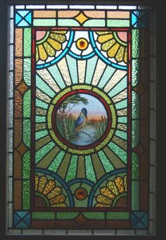 CIRCA 1890 Stained Glass Window Antique