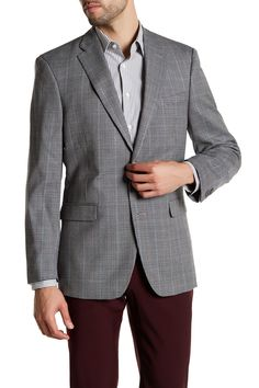 Multi-Gray Checkered Two Button Notch Lapel Jacket