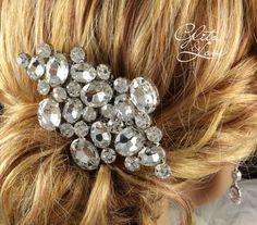 Fadila - Wedding Crystal Hair Comb, Bridal Accessories, Statement | glitzandlove - Wedding on ArtFire