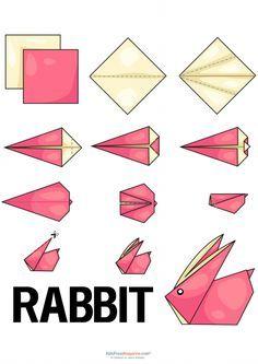 easy origami animals - www.ikuzoorigami Rabbit easy origami animals - www.Rabbit easy origami animals - www. Easy Origami Animals, Origami Penguin, Bunny Origami, Instruções Origami, Origami Butterfly, Useful Origami, Kids Origami Easy, Origami Ideas, Origami Folding