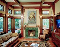 3 Gifted Tricks: Old Fireplace Joanna Gaines limestone fireplace living rooms.Tv Over Gas Fireplace stucco fireplace makeover.Fireplace Built Ins Craftsman. Arts And Crafts Interiors, Arts And Crafts Furniture, Arts And Crafts House, Design Furniture, Cheap Furniture, Furniture Ideas, Craftsman Interior, Craftsman Style Homes, Craftsman Bungalows