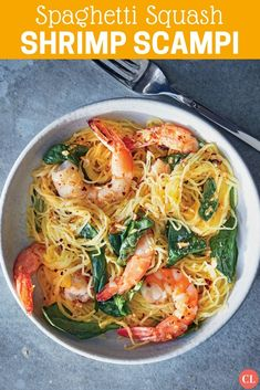 Spaghetti squash is a favorite ingredient for those seeking a lower-carb, gluten-free alternative to pasta. Pair it with a buttery sauce and tender shrimp for the ultimate low-carb shrimp scampi. Spaghetti Squash Shrimp Scampi, Whole 30 Spaghetti Squash, Spaghetti Squash Recipes, Cooking Light Recipes, Healthy Cooking, Healthy Eating, Healthy Recipes, Healthy Foods, Sin Gluten