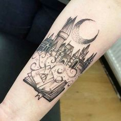 Fabulous Harry Potter blackwork tattoo