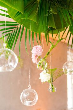 Hanging Floral Display + Glass Orbs | Modern Charleston Wedding at The Historic Rice Mill by Charleston Wedding Planner ELM Events