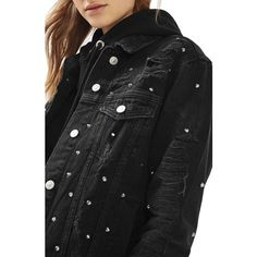 Women's Topshop Studded Distressed Denim Jacket ($160) ❤ liked on Polyvore featuring outerwear, jackets, washed black, denim jacket, studded jacket, studded jean jacket, oversized distressed denim jacket and jean jacket
