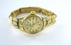 Ladies Rolex Vintage 18kt Yellow Gold Oyster Perpetual + Box Woman Wrist Watch $4,600