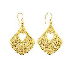 """Product # JE0472 Chandelier Goldtone Filigree Earrings hang 1.75""""  Price: $28.00 https://www.initialoutfitters.net/kathymurdock/"""