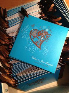 Wedding Heart Invitation turquoise chocolate Ribbon bow /// faire part mariage coeur ruban chocolat ww.latelierdelsa.com
